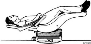 The Trendelenburg position, shown here, is one where the feet are higher than the head.
